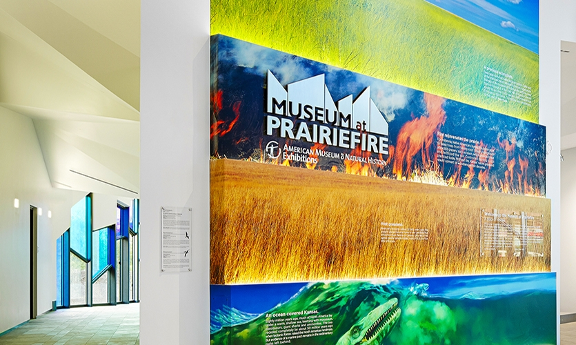 Interpretive panels explain what the place we call Kansas was like millions of years ago and how the topography, flora and fauna have changed over the course of history.