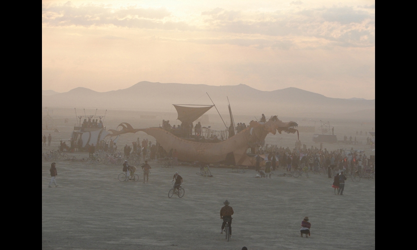 Art cars and buses are a favorite medium at Burning Man. (Photo: Louis Brill)