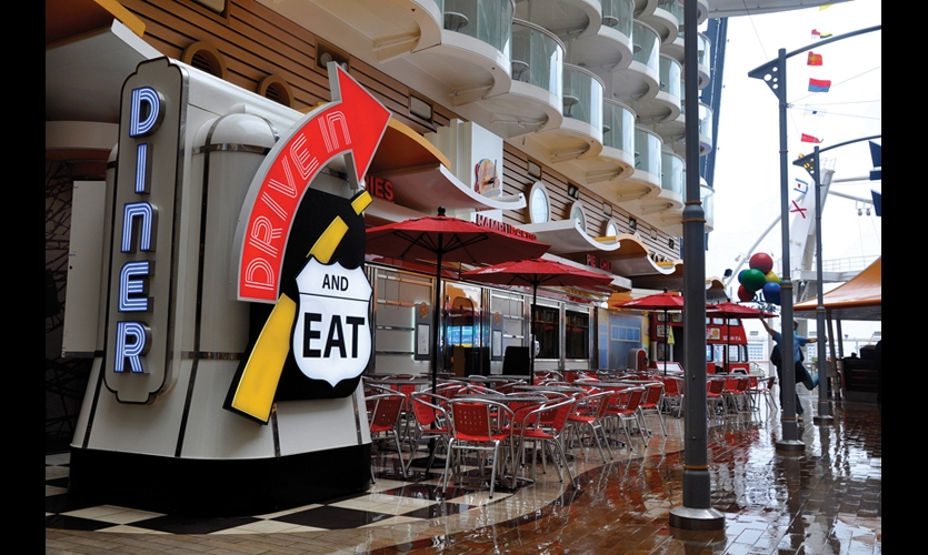 TGADesign developed 40,000 signs for the cruise ship, from venue identities to regulatory signs, wayfinding, and instructions for passengers using the ship's many amenities.
