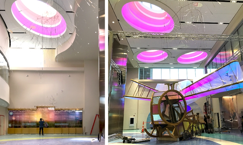 """Donor wall and """"Dragonflyer"""" during installation"""