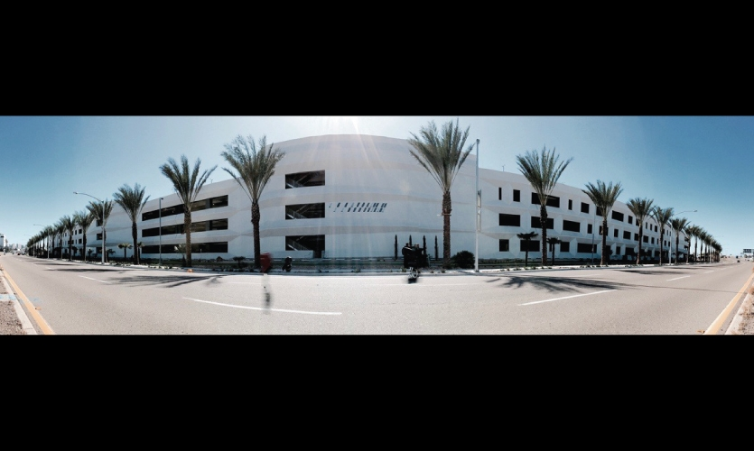 The site is a San Diego Airport parking structure.