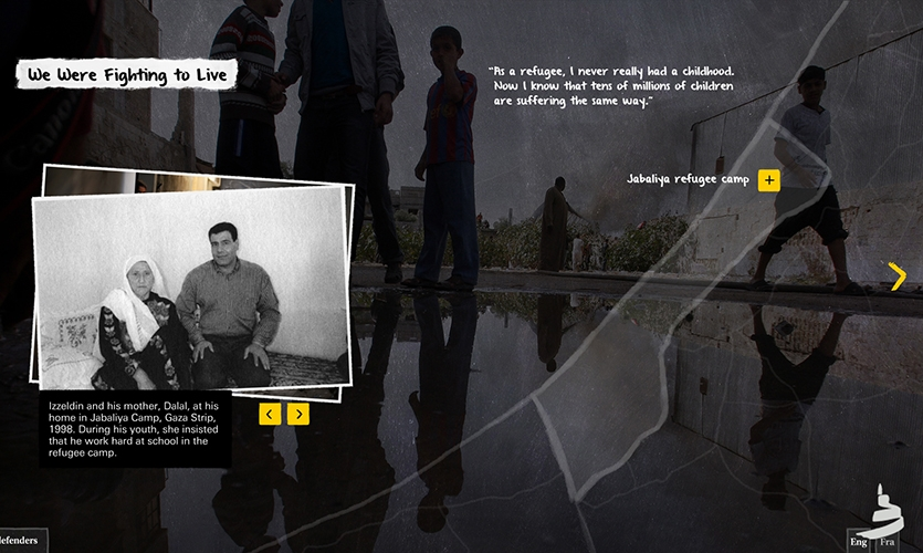 Defenders: Sample screenshot of one of the stories showing a media gallery (left).