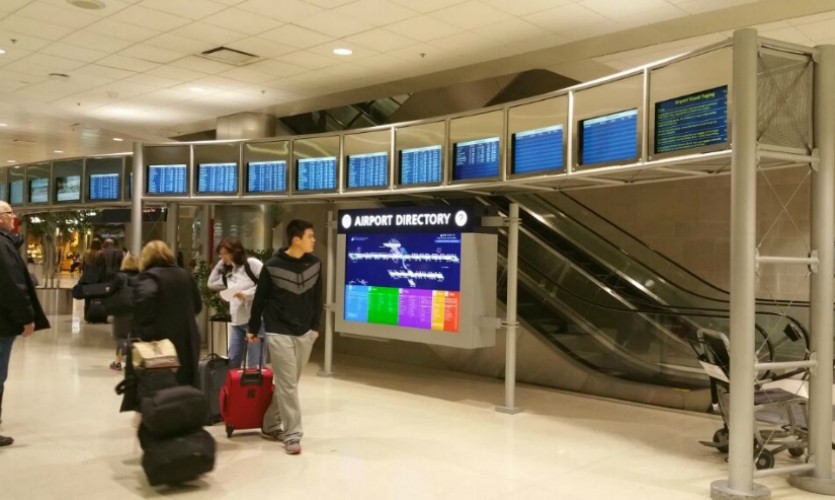 Digital signage posted at the key intersection helps travelers estimate how long it will take them to arrive at their departure gate.