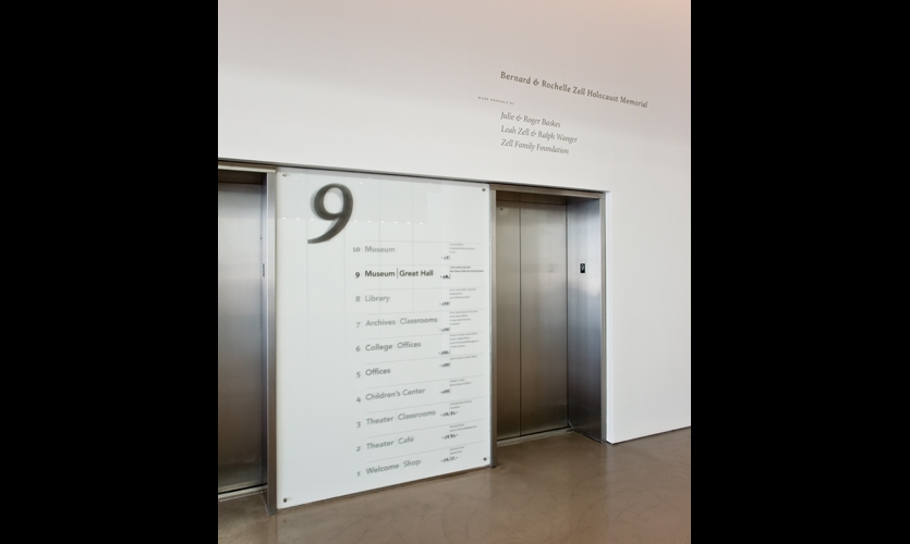 On elevator directories, Studio/lab used shadows, rather than layered type, to evoke a flickering effect.