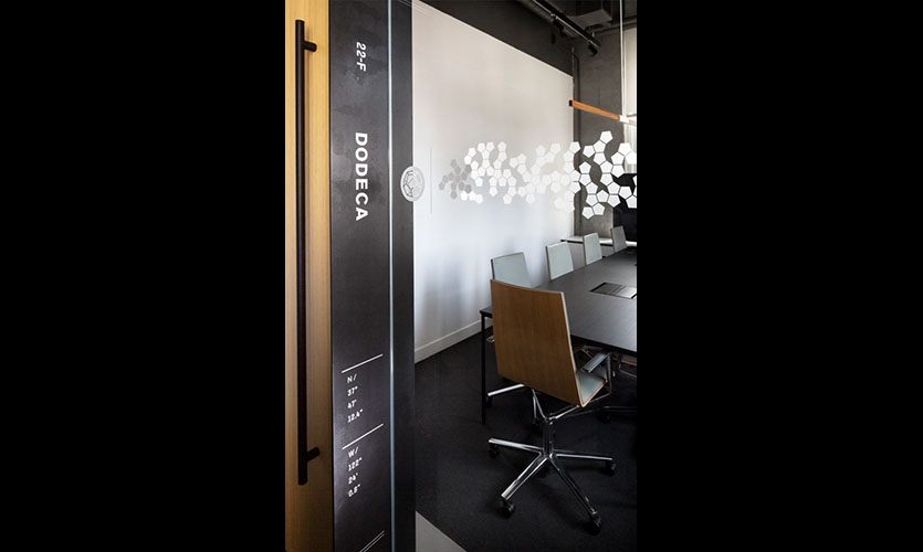 All the meeting room names are derived from this system and visually play out most prominently as distraction banding for the glass walls.