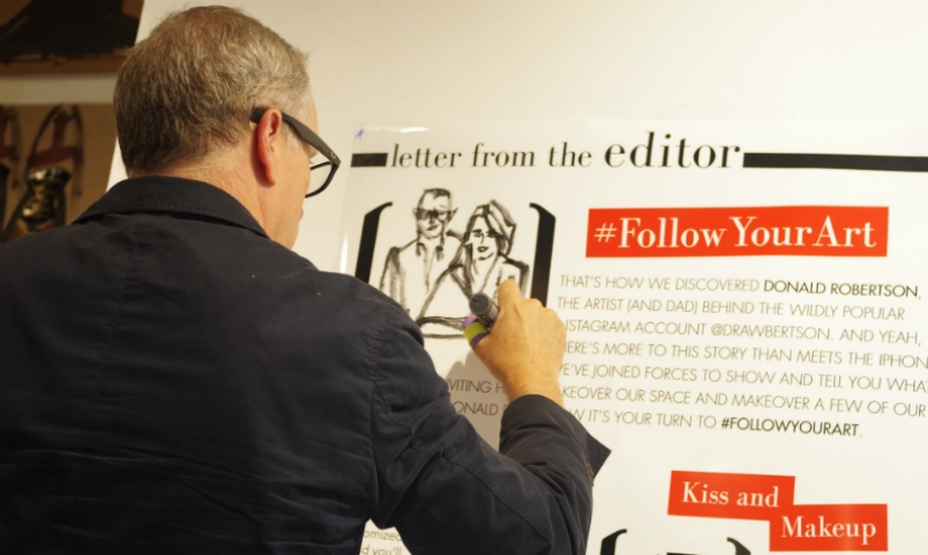 """Each themed space has a """"letter from the editor"""" explaining its origin. Here, Donald Robertson adds his touch."""