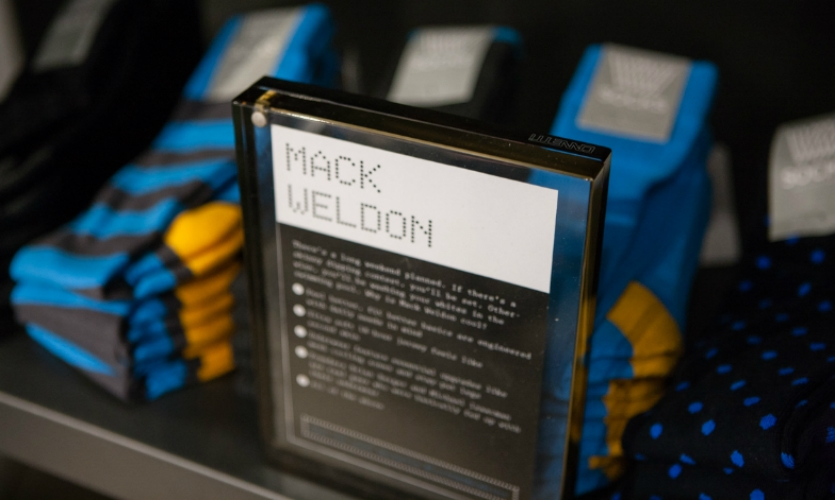 Narrative storytelling is key, so merchandise areas are labelled with background on the wares and their origins.
