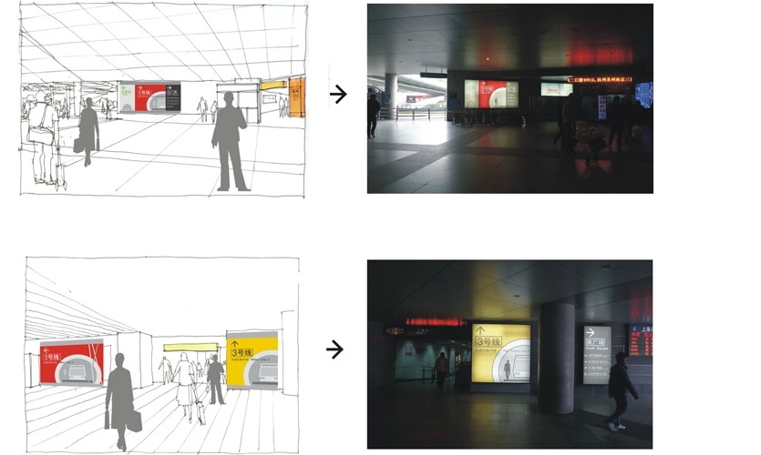 Fig. 4b. The signage was inserted at key decision points, particularly the North and South station exits where passengers make decisions about their next leg of travel.