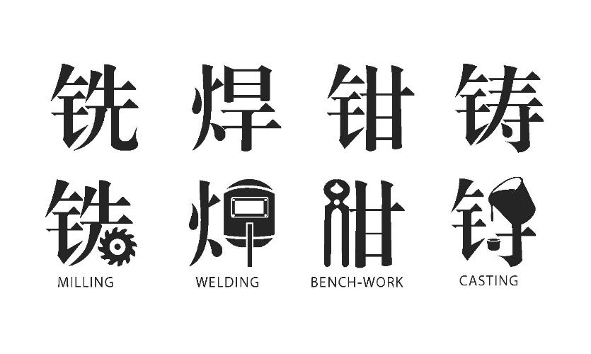 Fig. 5. At Tongji University, the wayfinding system is based on Chinese characters integrated with modern icons to express specific functions of the space.