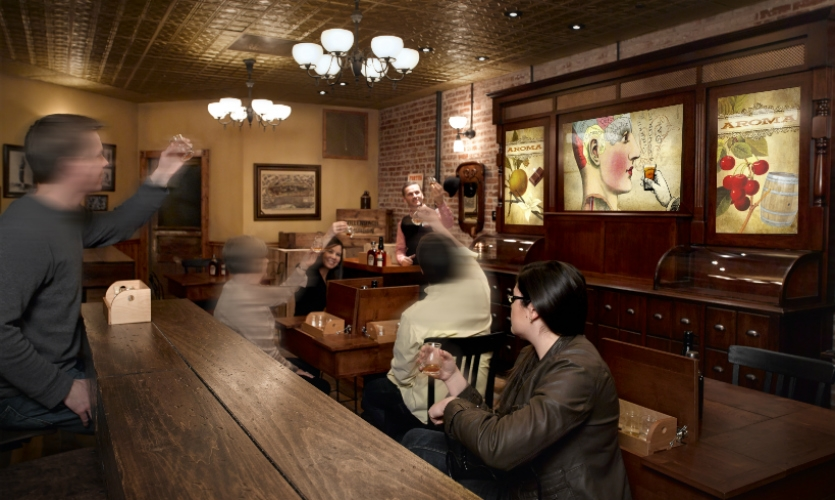 Tours end with a visit to one of two tasting rooms, including a space that recalls an 1890s-era distribution warehouse.