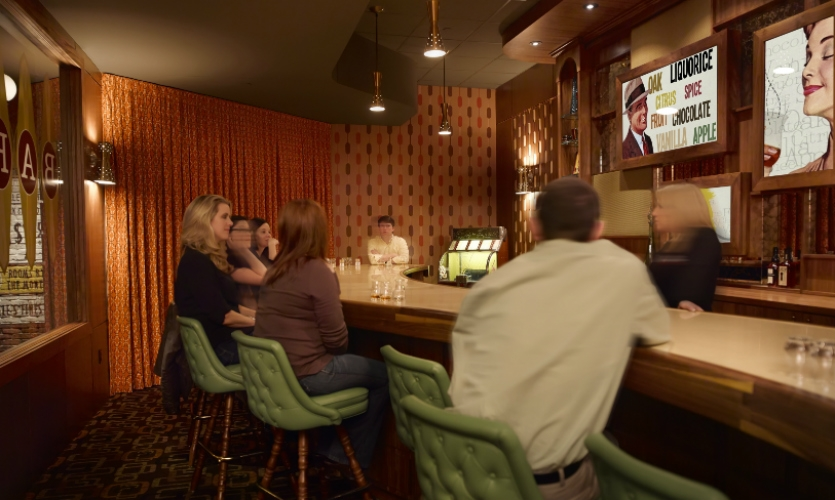 The second tasting room has an early 1960s vibe.