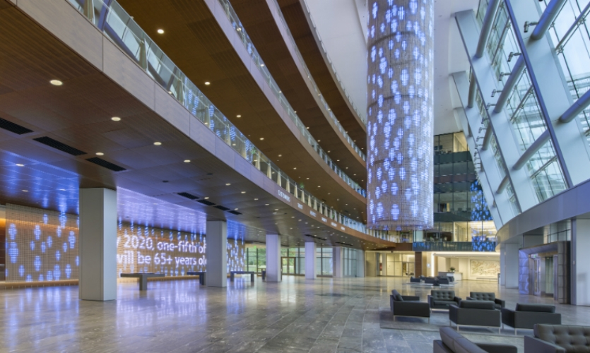 Designed by Ralph Appelbaum Associates with system design by Electrosonic Inc., it includes a 5-story LED chandelier and an 80-ft.-long LED curtain that displays custom animations.