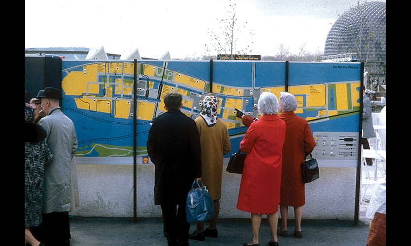 Expo 67 covered more than 1,000 acres on two islands and a peninsula in the middle of the Saint Lawrence River. Burton Kramer Design created the wayfinding system. (Image: ©Burton Kramer Design)