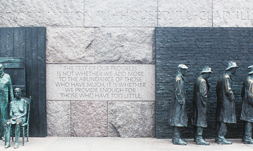 Architect Lawrence Halprin's original concept called for hand-carved lettering on the FDR Memorial, but cost constraints resulted in most inscriptions being sandblasted. (Photo: © Richard A. Latoff/Latoff.com)
