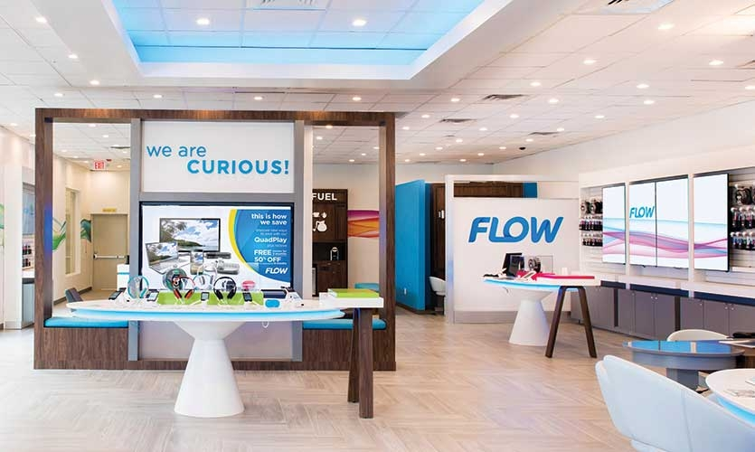 Shikatani Lacroix's design of a new physical and digital immersive customer experience for the Flow chain of wireless stores in the Caribbean.