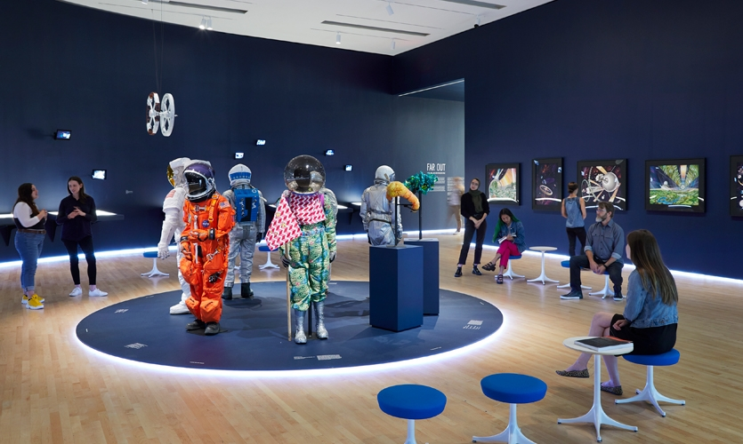 This exhibition presented an array of objects—space suits, models, ephemera, and drawings alongside a selection of film excerpts.