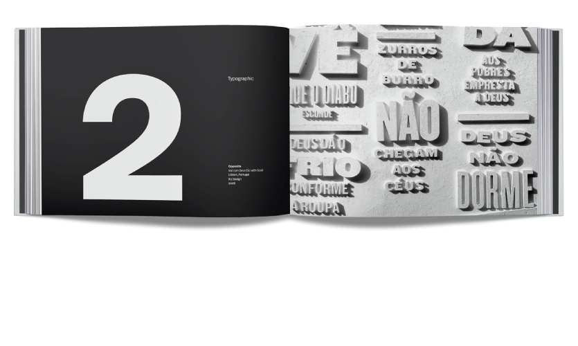 "Chapter 2: Typographic title page (left) and ""Vai com Deus"" by R2 Design (right)"