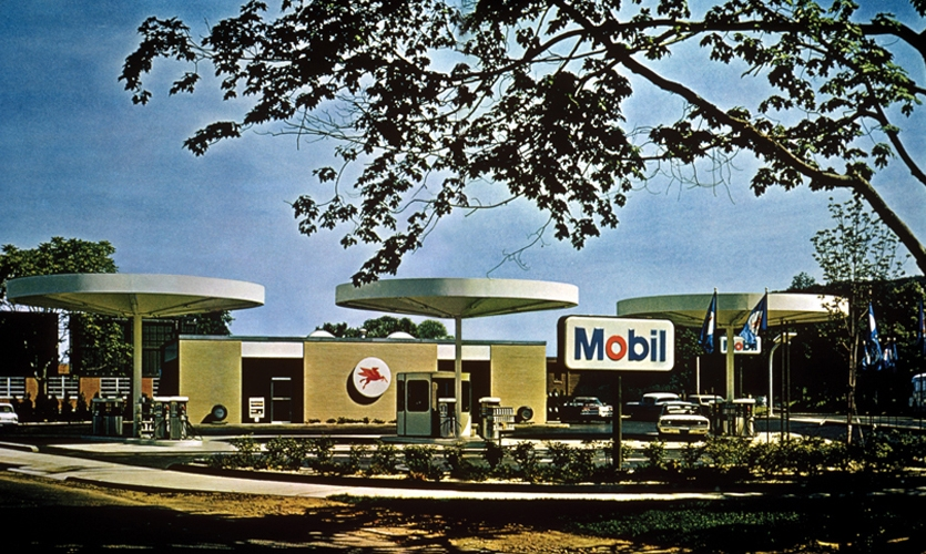 "Mobil Oil Service Station (1964). Chermayeff & Geismar's concept may have been the first and certainly the most thoroughly ""branded"" environment of its day. Seamless integration of graphics, industrial design (by Eliot Noyes), and architecture, with a distinctive logo mark as the centerpiece. (Photo: Chermayeff & Geismar & Haviv)"