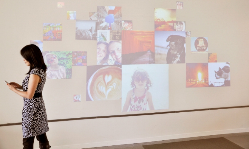 Fast Company loved Sam Stubblefield's FluidWall digital installation. It allows employees to curate their own photo exhibit, which is activated when they pass by wearing their company RFID tags.