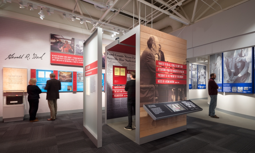 Visitors can view archival testimony from the Warren Commission, campaign footage and explore historic bills passed during Ford's presidency.