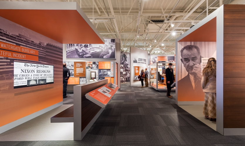 The building, designed by Marvin DeWinter Associates, has an unusual ceiling, which presented a challenge.
