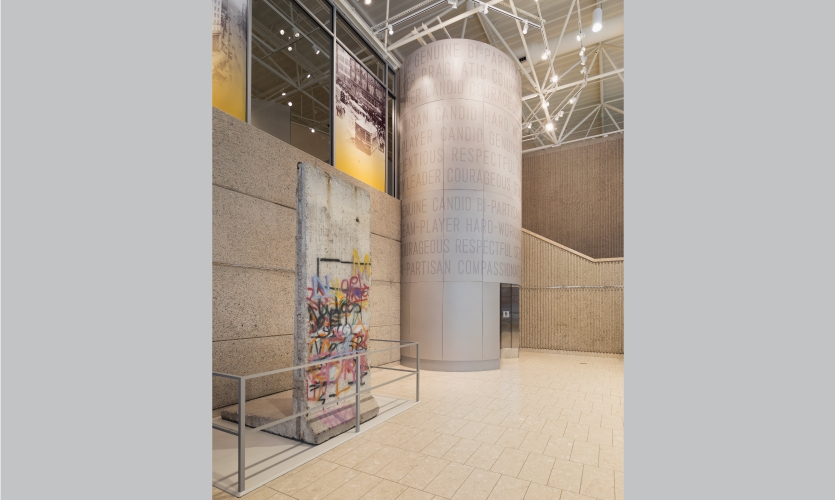 A piece of the Berlin Wall sits in the lobby, dedicated by Ford himself in 1991.