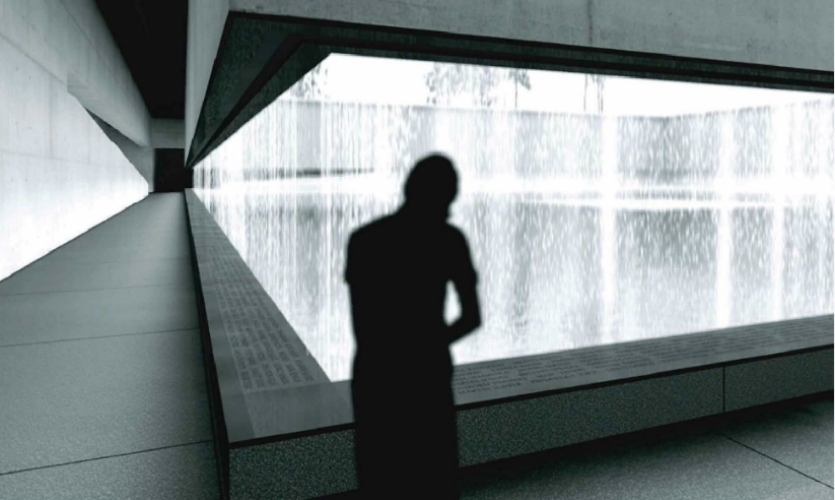 """(2007) This early rendering by the architects depicts the names commemoration as an underground """"crypt,"""" or viewing loge, behind the waterfall. We recommended tilting the panels for better legibility, less chance of sitting on the names and elimination of pooling water, which became part of the final design."""