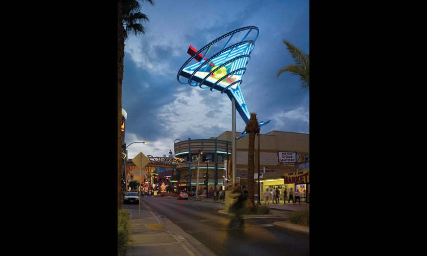 "SPD collaborated with the City of Las Vegas to revitalize East Fremont Street into a lively music and entertainment district. The dramatic entry gateway, evocative large-scale neon sculptures, and other elements were inspired by 1950s Las Vegas and ""Googie"" style."