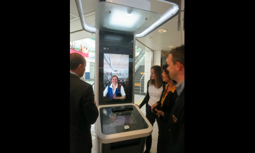 """Munich Airport has found an inventive way to leverage the """"Friendly Face Factor"""": a virtual concierge kiosk."""