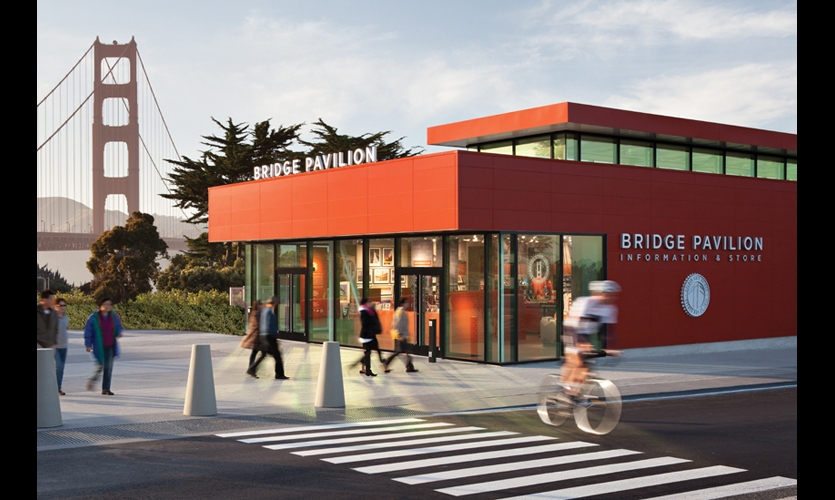 The new Golden Gate Bridge Pavilion is a 3,500-sq.-ft. visitor center and gift shop made from a pre-engineered kit designed by Jensen Architects and Project Frog.