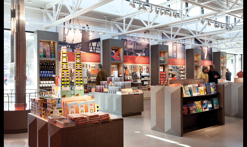 "Since interpretive information and merchandise compete for the same space in the ""magic band"" two to six feet off the floor, Macchiatto placed high-impact graphics above the retail offerings."