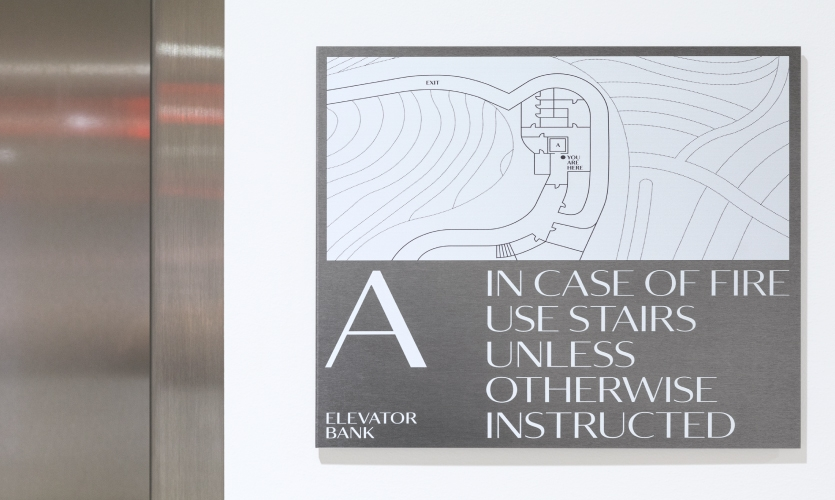The extensive signage system includes exterior vehicular and pedestrian wayfinding, interior wayfinding, ADA, building and space identifiers, didactics and exhibition signage.