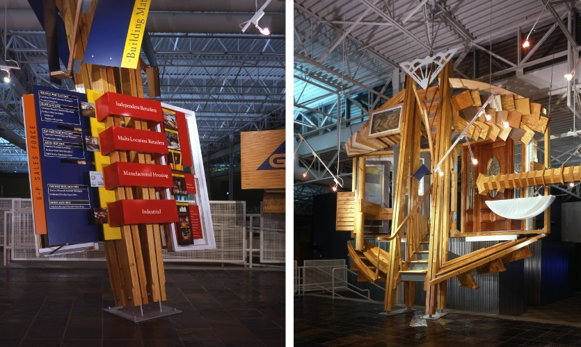 This corporate exhibit tells a three-part story about process, products and customers. Scale was important, as it was located in a vast distribution space.