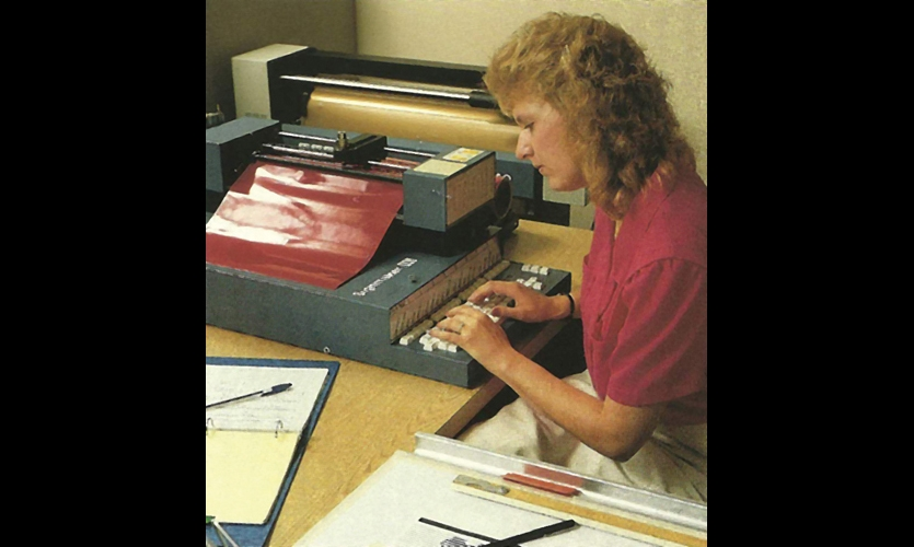 Gerber Signmaker and Die-Cut Vinyl Letters (1983). Gerber manufactured the first commercial vinyl character cutter--probably single-handedly responsible for the death of hand-brush lettering. Vinyl die-cut letters are still a staple of sign making and museum exhibits. (Photo: Gerber Scientific)