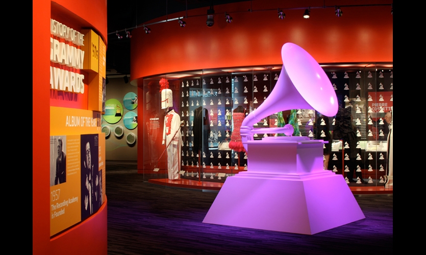 At the 30,000-sq.-ft. Grammy Museum in Los Angeles, the G&A team incorporated theater and multimedia in a variety of ways. Without an established collection of artifacts, G&A focused on developing rich interactive experiences and immersive environments punctuated with bold textures, photographs, and typography. (Photo: Jeremy Regenbogen, G&A)
