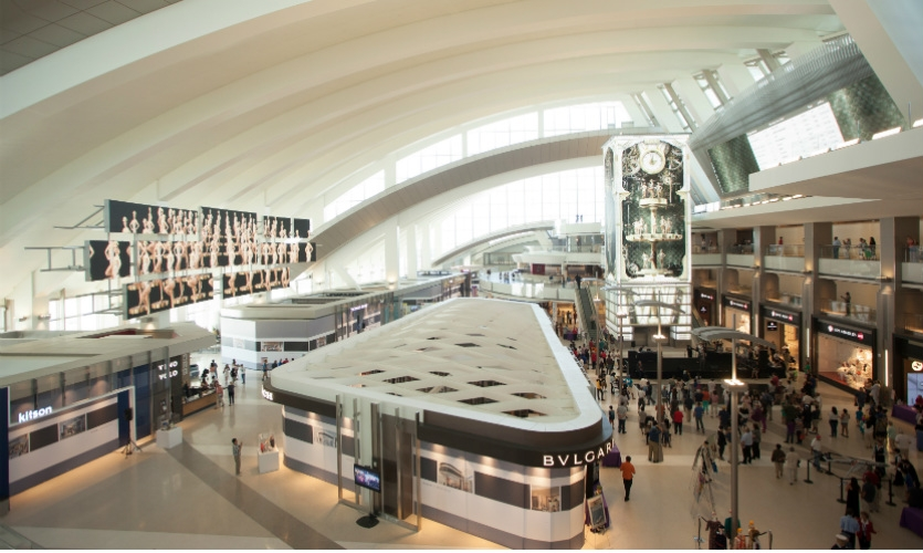 From the Great Hall of LAX Tom Bradley International Terminal, visitors can see two of the seven epic digital media components in the $40 million Integrated Environmental Media System. (Photo: Moment Factory)