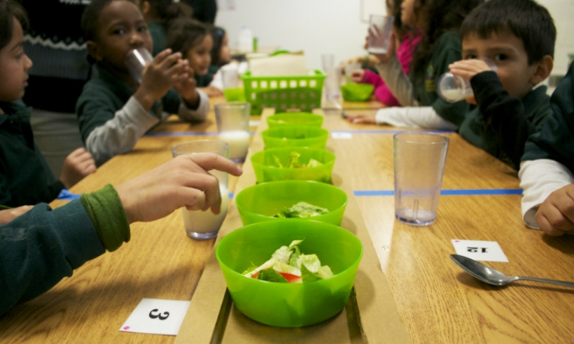 "To encourage students at the Academy for Global Citizenship to make healthy choices and to reduce waste, Greater Good redesigned the cafeteria service to offer strategic ""courses"" rather than a traditional line-up-and-take-a-tray format."