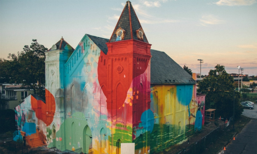 In 2012, HENSE was commissioned to transform an abandoned church in Washington, D.C., into an art installation. The mural is located in a burgeoning arts district. (Photos: HENSE and Miguel Martinez)