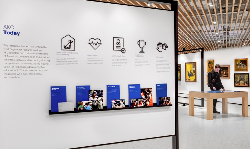 With its reinvented presence, the AKC's Museum of the Dog and NYC headquarters share the organization's mission with a new generation of dog lovers and visitors through memorable experiences and distinctive design. (image: mission wall)