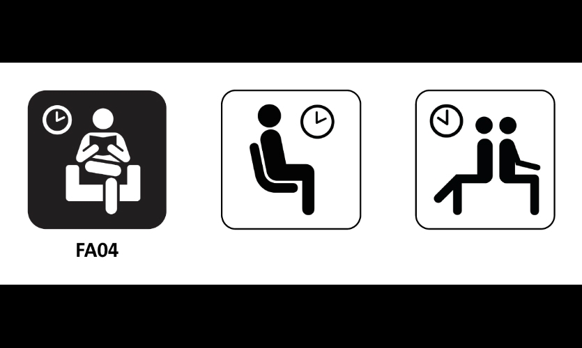 "Fig. 11. ""Waiting area"" symbols (l-r) Hablamos Juntos, DOT/AIGA, ISO 7001"