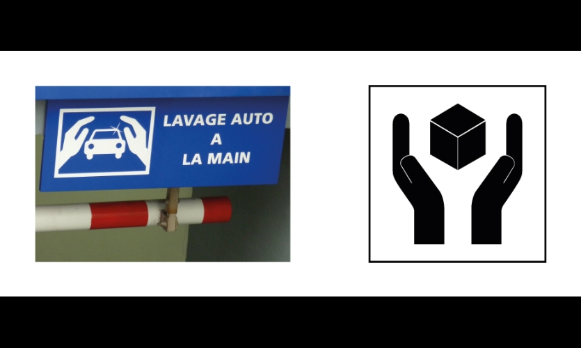 "Fig. 14. Symbols similar to FA11 and CM14 for ""carwash"" (France) and ""Handle with Care"" for packaging purposes"