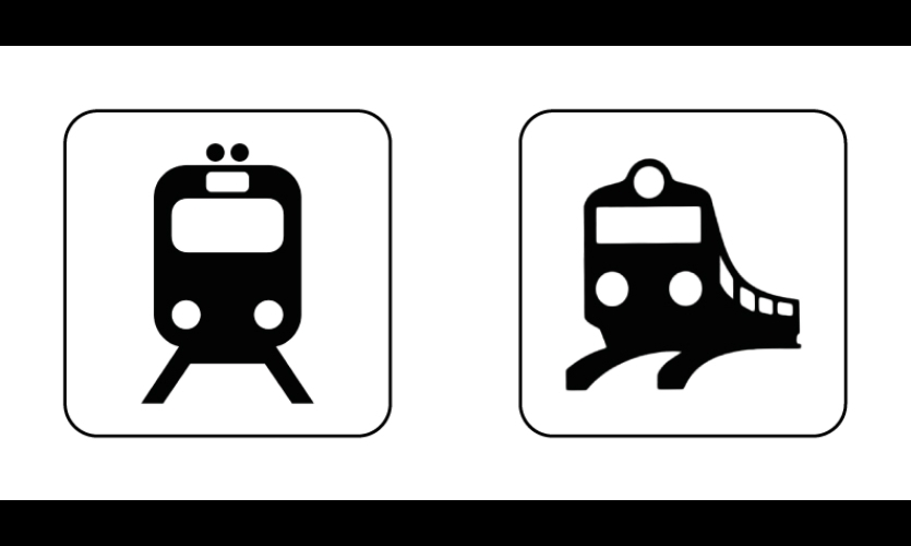 "Fig. 5. ""Rail transportation,"" DOT/AIGA (left) and ISO 7001"