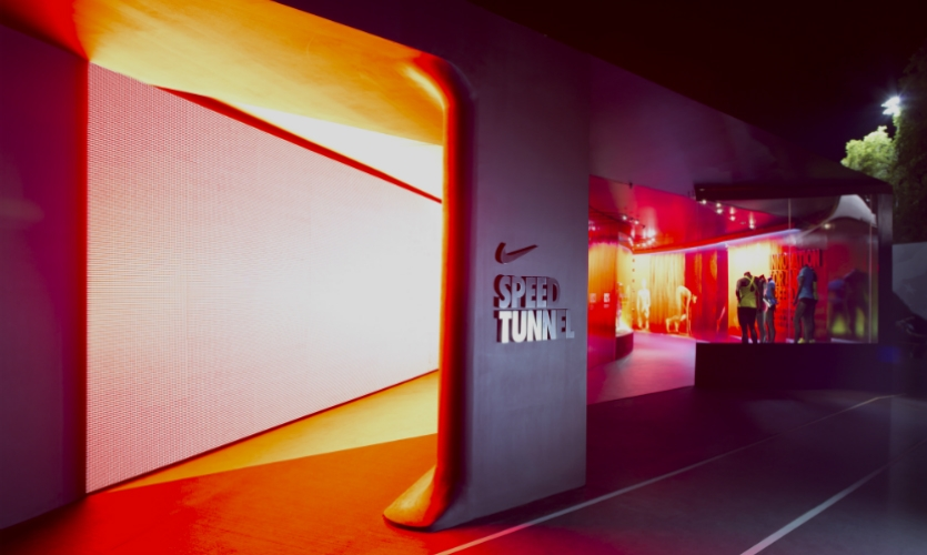 """At the 2012 Olympic Running Trials, HUSH created a Nike pavilion dedicated to making Nike customers """"feel fast."""" (Photo: Skylab Architecture)"""