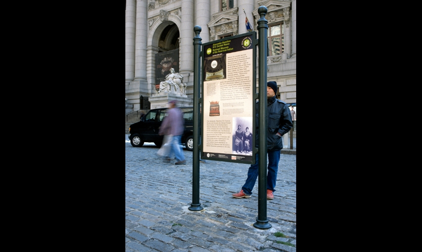(1997) One of our first projects in the World Trade Center area was Heritage Trails New York, a walking tour of Lower Manhattan connecting points of interest. There were 12 interpretive signs, including one across the street from the World Trade Center site.