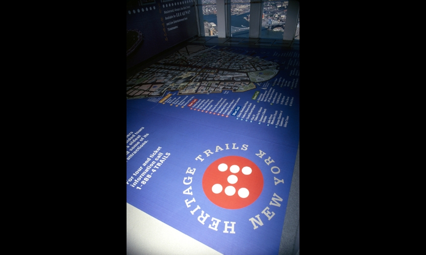 A Heritage Trails exhibit was installed in the Observatory level of WTC 2. Originally envisioned as a pop-up exhibit, it remained until the time of the attacks.