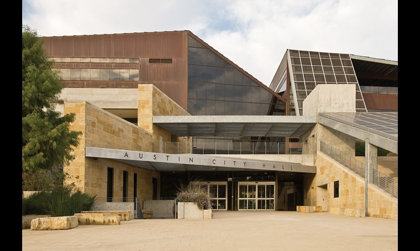The Antoine Predock-designed, limestone and copper-clad City Hall is LEED Gold certified, and helped cement Austin's reputation as one of the most environmentally friendly cities on the planet.