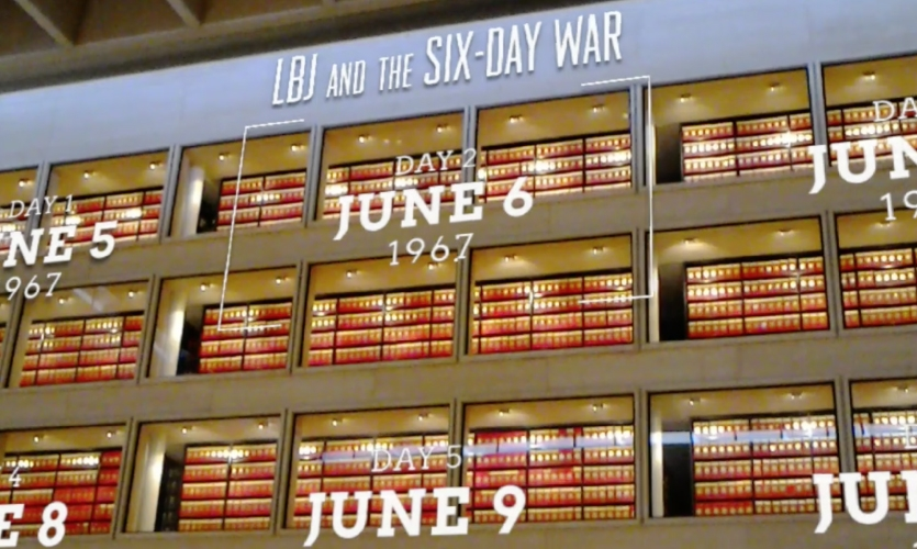 They designed a solution that turns six of the windows into menu items, one for each day of the Six Day War of June 1967.