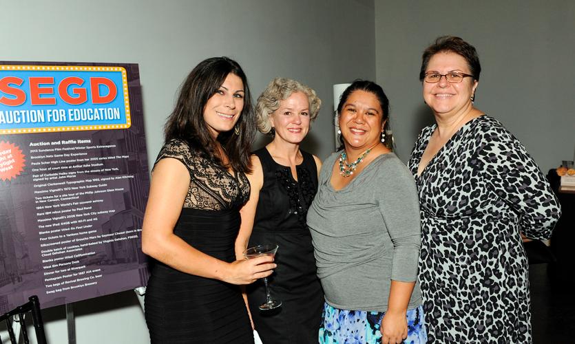 SEGD Staffers pose (r-l): Jennette Foreman, Pat Matson, Nadia Adona, and Ann Makowski