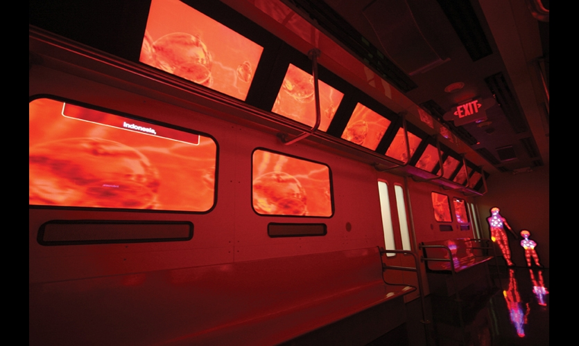 The Infection Connection Subway Theatre is an immersive environment created to simulate a subway train ride. Windows are large plasma screens playing a 12-minute video about the spread of infectious disease, accompanied by all the sounds and vibrations of a commute.