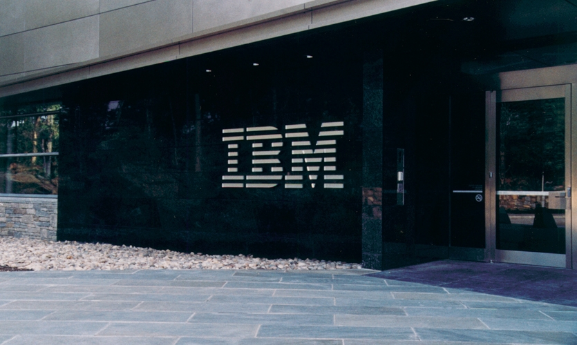 Building identification signage at the IBM Headquarters in Armonk, NY